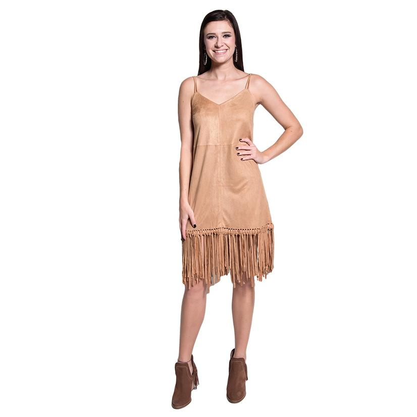 Bd Collection Womens Faux Suede Brown Fringe Dress