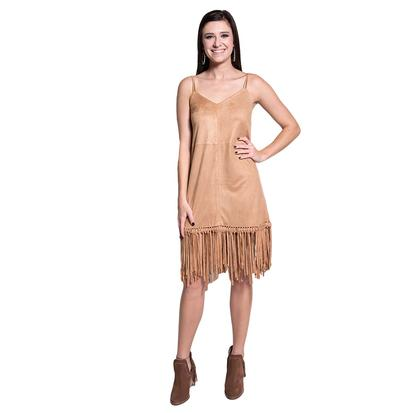 Womens Faux Suede Brown Fringe Dress