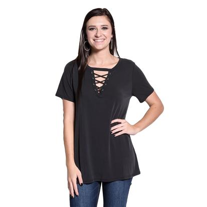 Womens Lace Up Short Sleeve Basic Tee