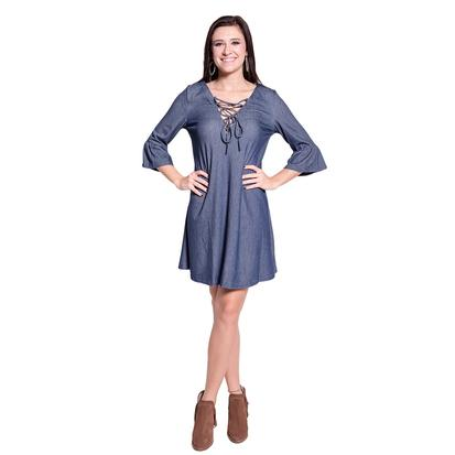 Womens Denim Quarter Sleeve Lace Up Dress