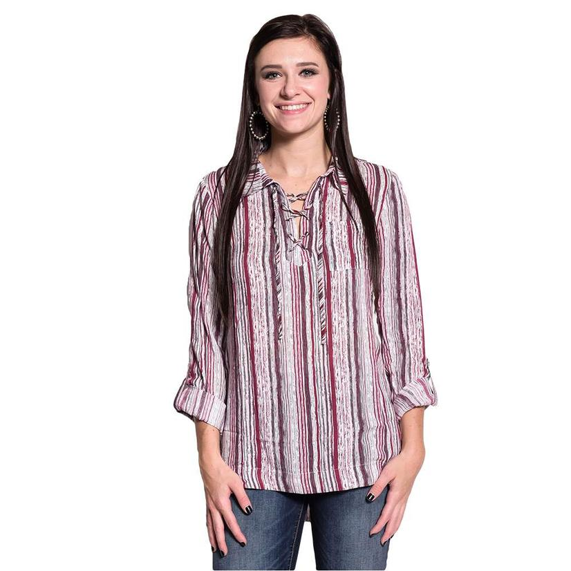 Dear John Womens Bailey Long Sleeve White & Wine Striped Shirt