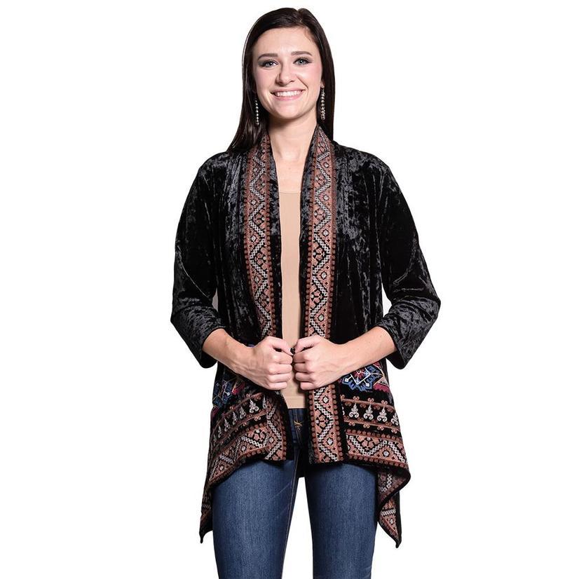 Velvet Womens Long Sleeve Embroidered Cardigan