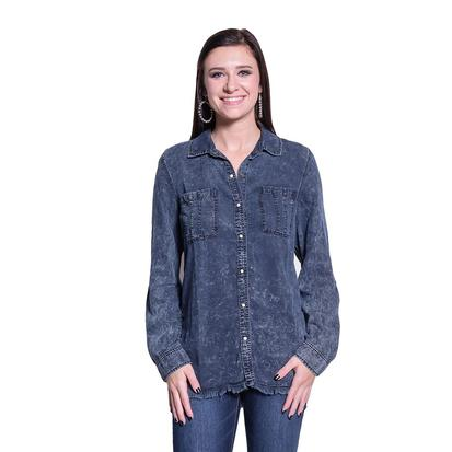 Dear John Womens Misty Denim Long Sleeve Pocket Shirt