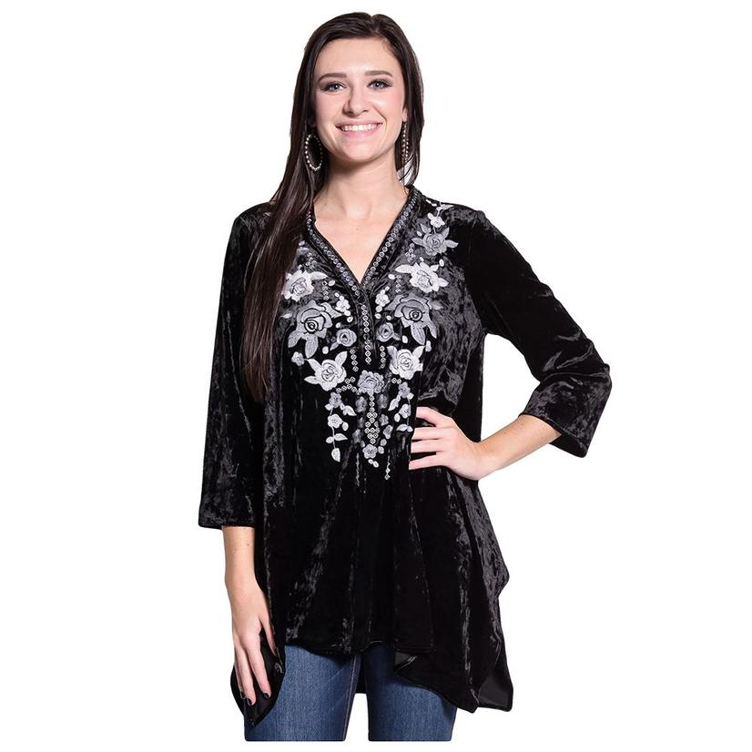 Andree By Unit Womens Black Velvet Floral Embroidered Tunic