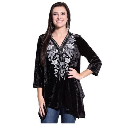 Womens Black Velvet Floral Embroidered Tunic