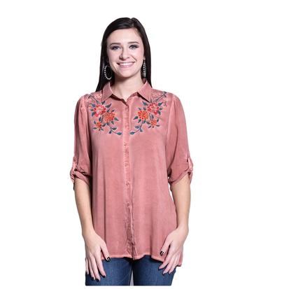 Womens Rust Wash Dye Button Front Floral Front Shirt