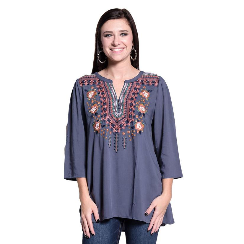 Floral Womens Embroidered Tunic W/Buttons