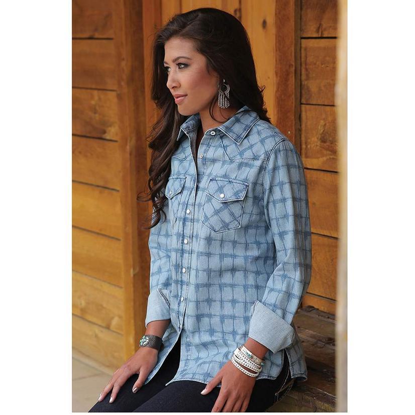 Cinch Womens Printed Chambray Blue Plaid Western Shirt