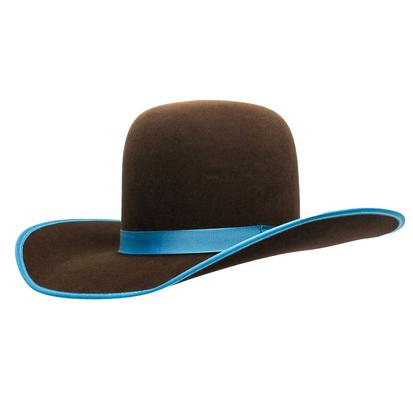 Rodeo King 7x Chocolate Turquoise Open Crown Felt Hat