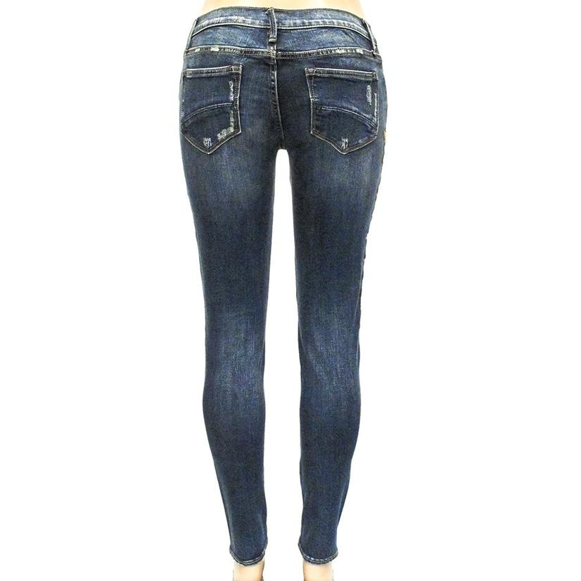 Driftwood Womens Marilyn Cream Embroidered Floral Skinny Jeans