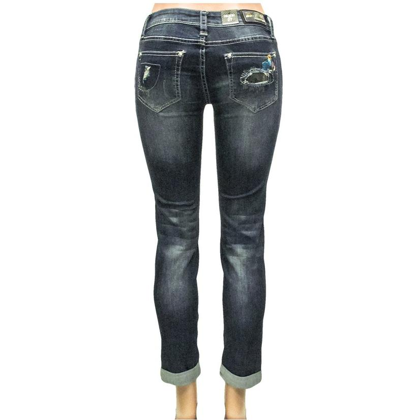Grace In La Womens Destroyed Sequin Floral Skinny Jeans