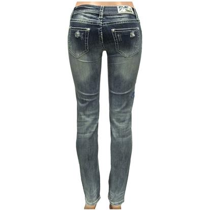 Grace In LA Womens Neautal Embroidery Skinny Jeans