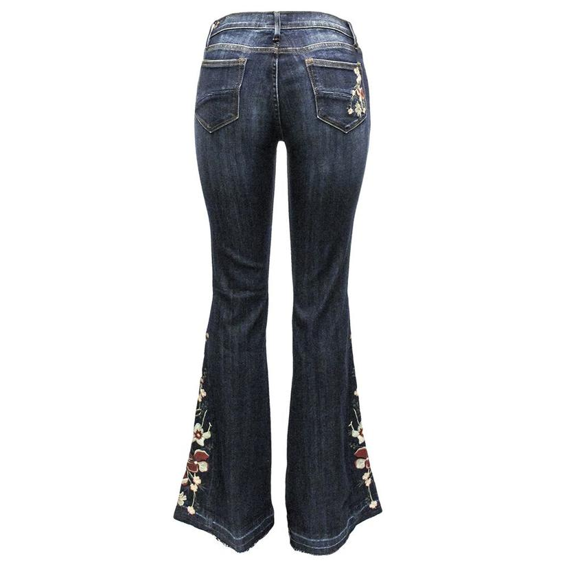 Driftwood Womens Farrah Flare Embroidered Jeans