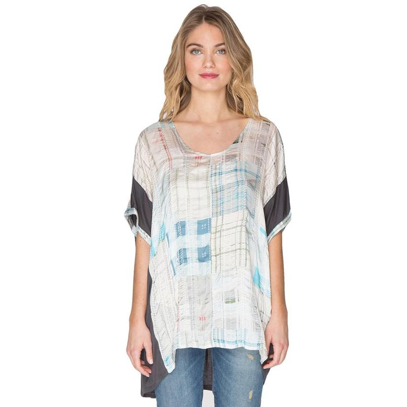 Biya Womens Kaleah Silk Top PLAID