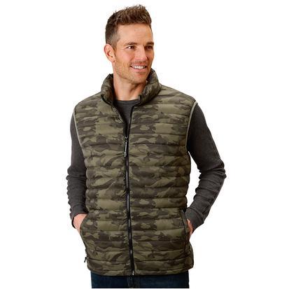 Roper Mens Camo Puffy Zip Up Vest