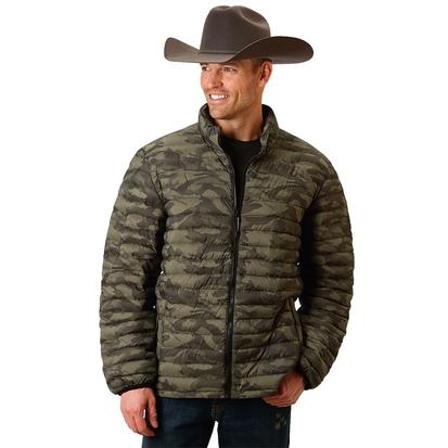 Roper Mens Camo Puffy Zip Up Jacket