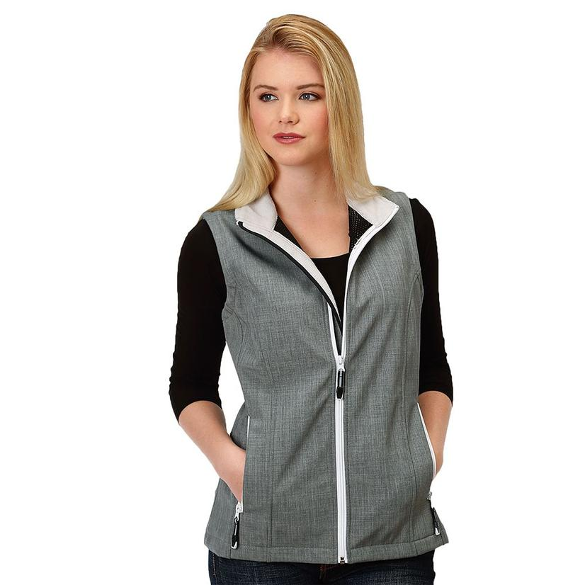Roper Womens Grey Bonded Zip Up Vest