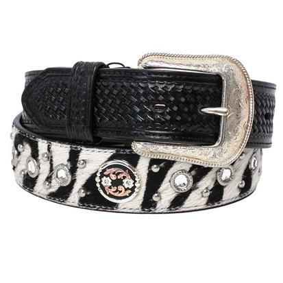 3D Mens Zebra Print Black & Rhinestone Men's Belt