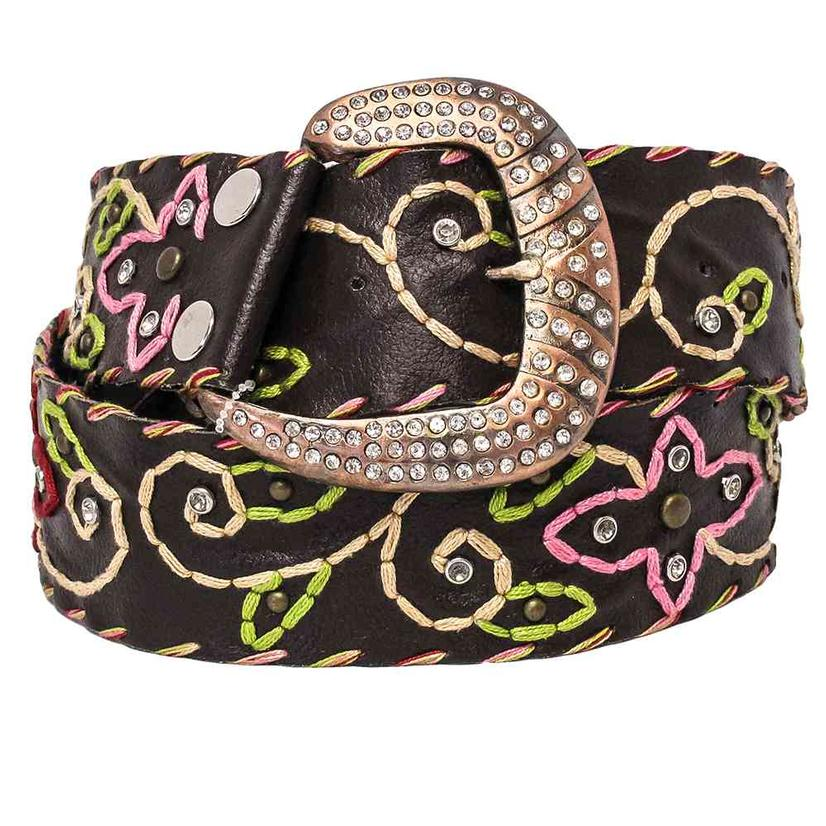 Stt Womens Brown Embroidered Copper Rhinestone Belt