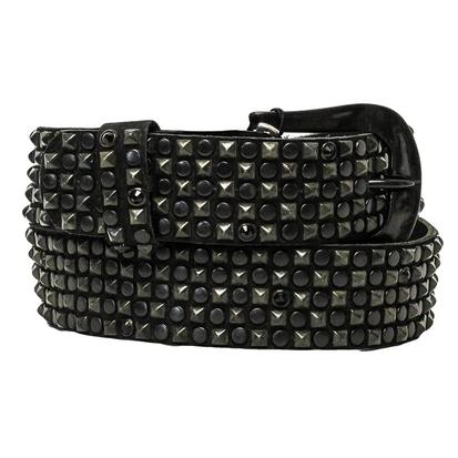 Kippys Womens Black Crystal with Hammered Buckle Belt
