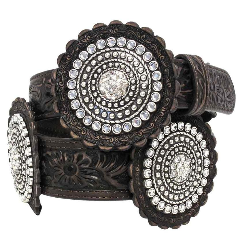 M&F Womens Western Floral Tooled Large Crystal Concho Belt