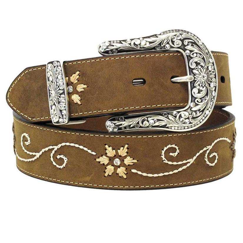 M&F Womens Western Brown & Cream Floral Stitched Belt