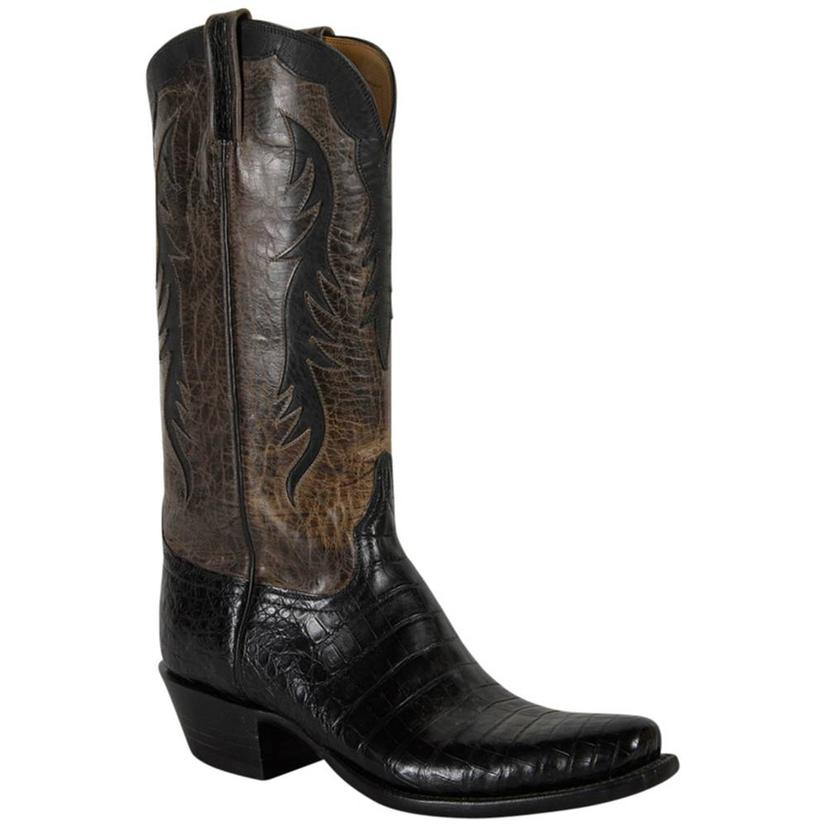 Lucchese Classics Mens Black & Grey Ultra Caiman Belly Cowboy Boots