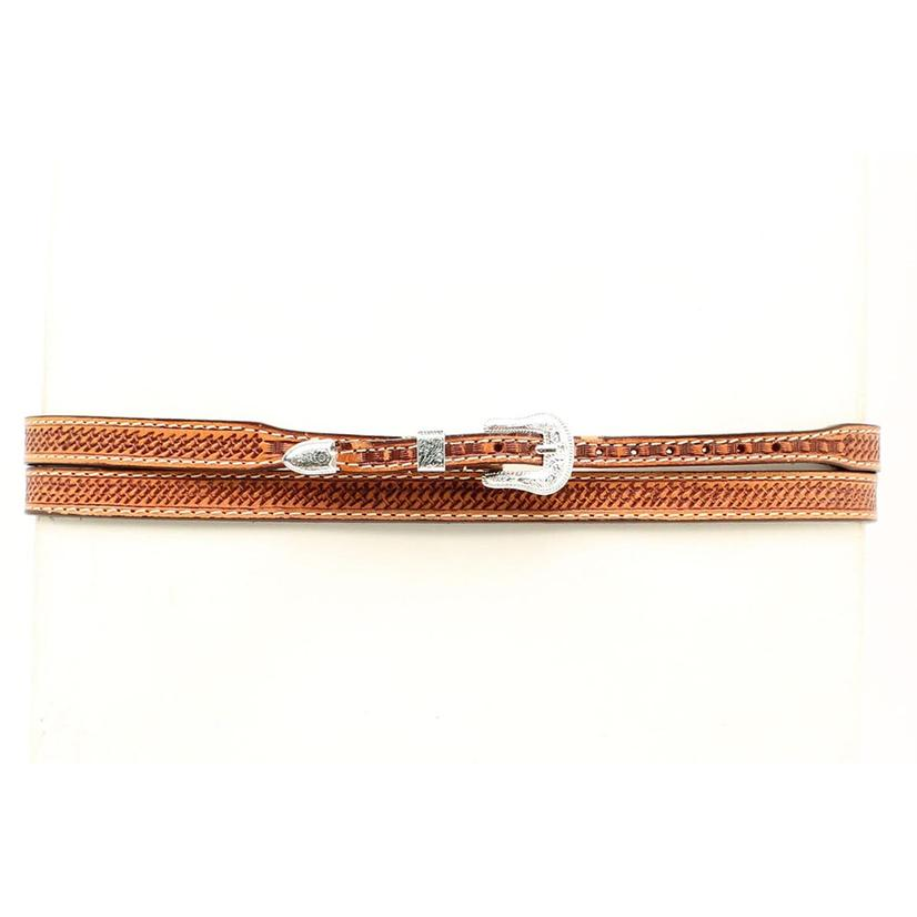 Embossed Leather Basket Weave Hatband