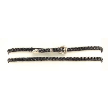 Braided Black Leather Hat Band