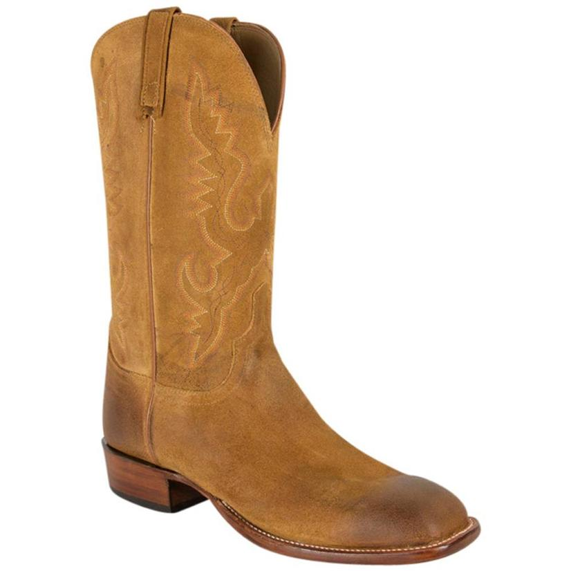Lucchese Mens Sand Burnished Comanche Leather Western Boots