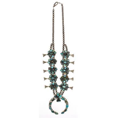 STT Miranda Multi Shade Turquoise Squash Blossom Necklace