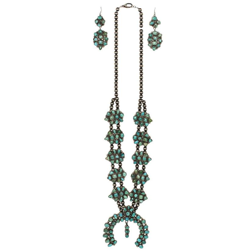 Stt Turquoise Squash Blossom Necklace With Matching Earrings