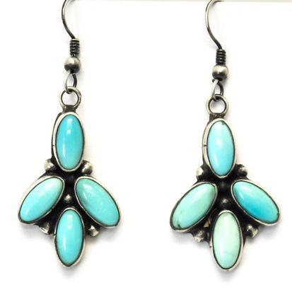 STT Three Prong Turquoise Dangle Earrings