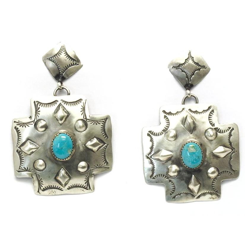 STT Cross Concho Earrings Turquoise Center