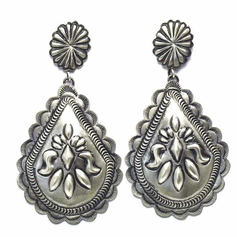 STT Silver Concho Teardrop Earrings