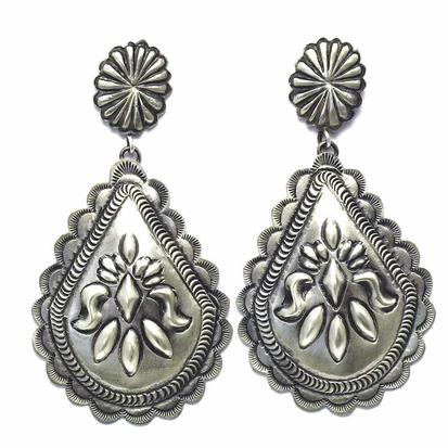 STT Silver Concho Teardrop Earrings