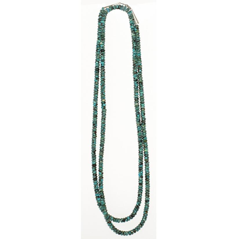 STT Single Strand Long Turquoise Bead Necklace