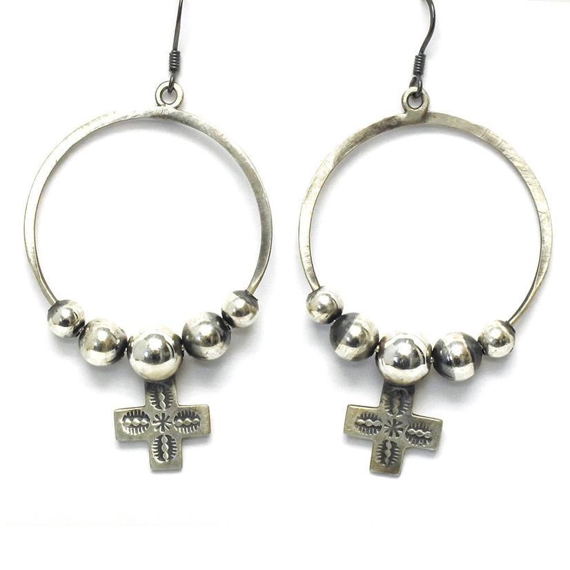STT Silver Navajo Cross Hoop Earrings