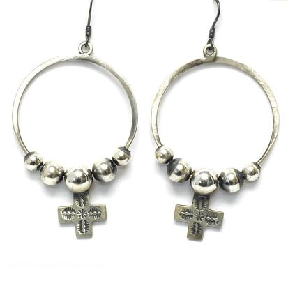 STT Silver Navajo Cross Hoop Earrings