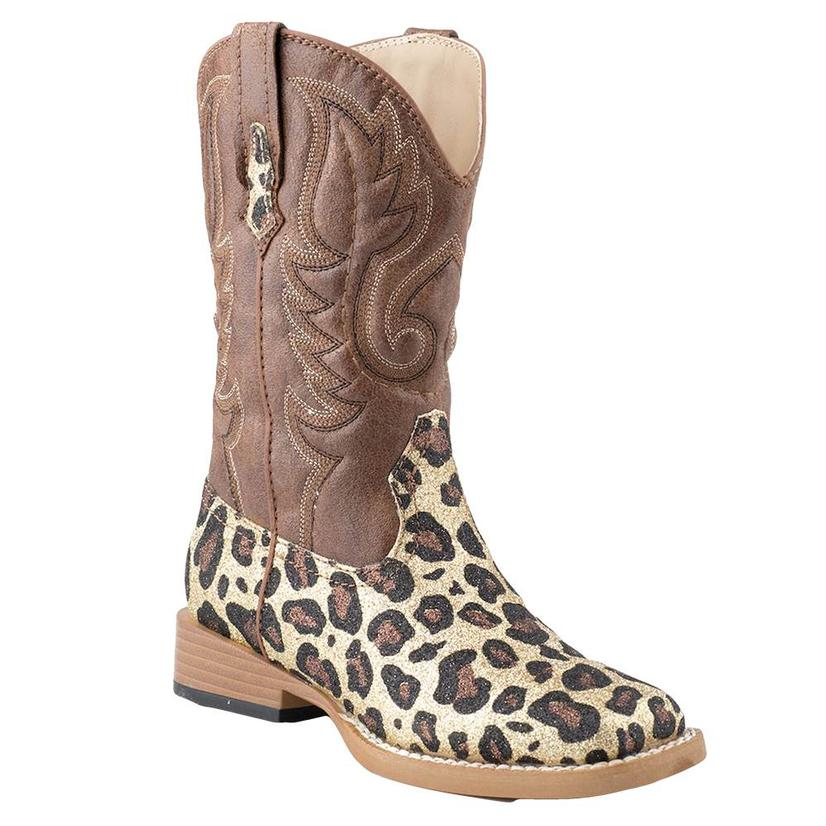 Roper Girls Glittery Brown Leopard Print Cowgirl Boots