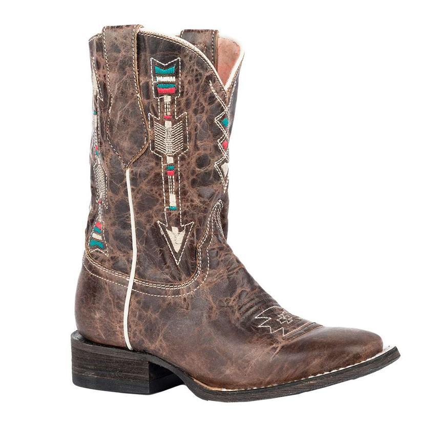 Roper Girls Brown Embroidered Arrow Underlay Western Boots