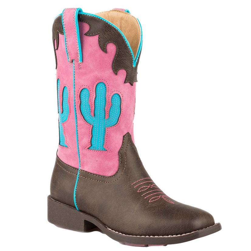 Roper Girls Pink & Blue Cactus Western Cowboy Boots