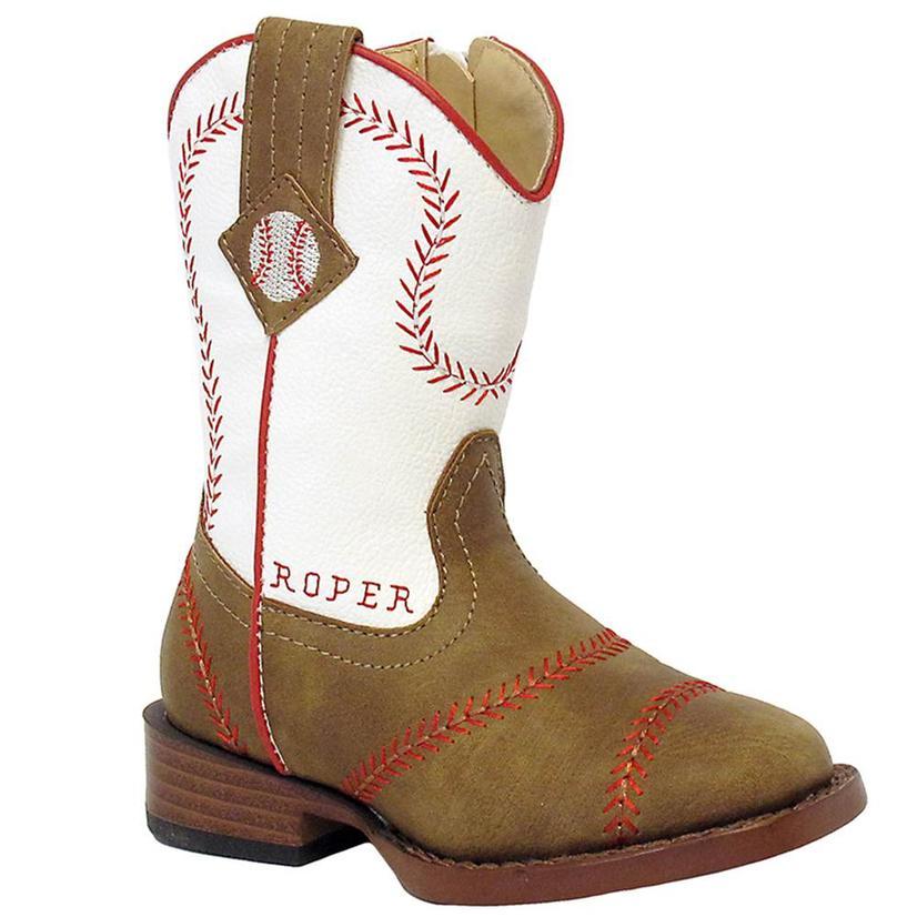 f5402676093 Toddler Boys Baseball Square Toe Cowboy Boots