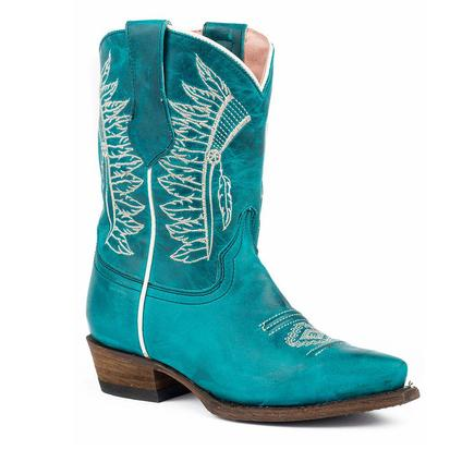 Roper Girls Chiefs Burnished Blue Turquoise Embroidered Cowgirl Boot
