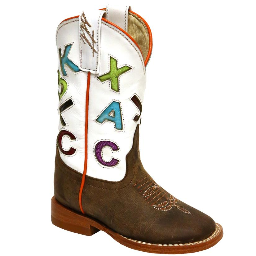 Anderson Bean Boys Mad Dog White Leather Cowboy Boots