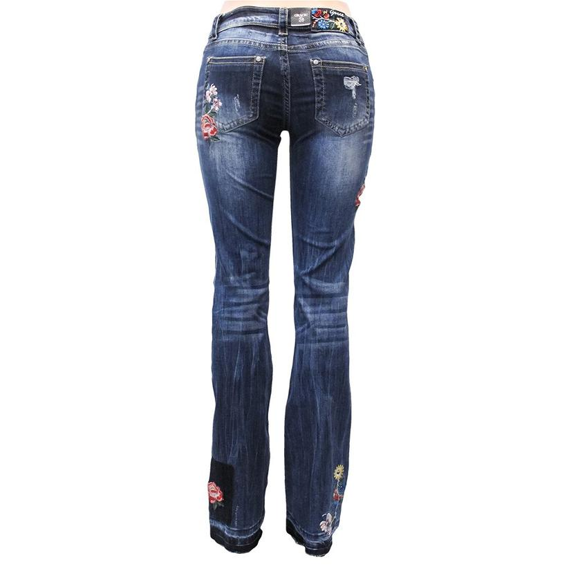 Grace In La Womens Distressed Floral Patch Jeans