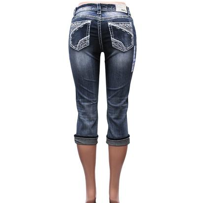 Grace In LA Idol Meander Stitched Easy Fit Capris