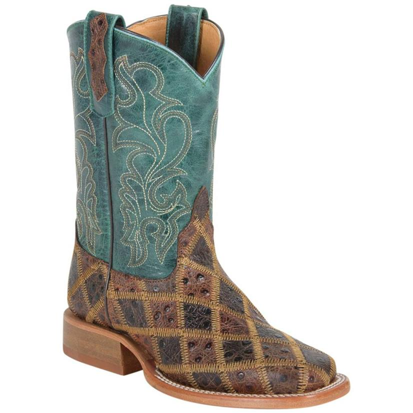 Anderson Bean Kids ' Angry Bird Turquoise & Brown Patchwork Boots
