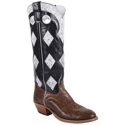 Olathe Mens Tobacco Intimidation Black White Check Tobacco Rum Boots