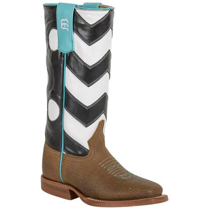 Anderson Bean Girls Black Chevron Polka Dot Western Cowboy Boots